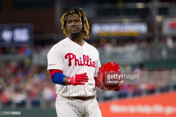 Odubel Herrera of the Philadelphia Phillies looks on against the Washington Nationals at Citizens Bank Park on April 9 2019 in Philadelphia...