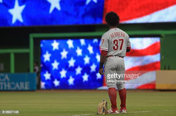 Odubel Herrera of the Philadelphia Phillies looks on during a game against the Miami Marlins at Marlins Park on July 19 2017 in Miami Florida
