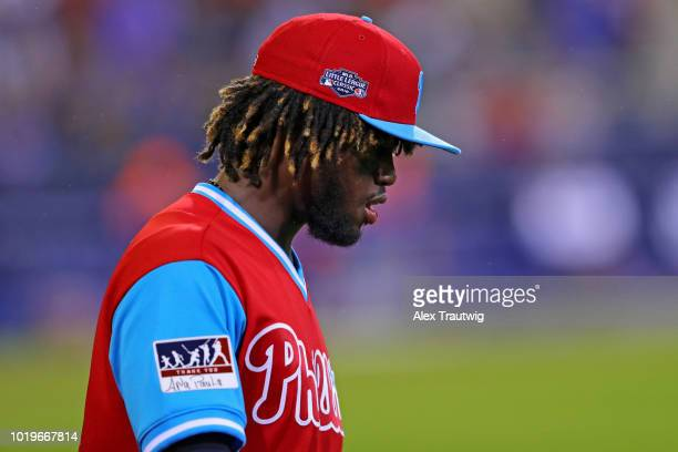 Odubel Herrera of the Philadelphia Phillies looks on during the 2018 Little League Classic against the New York Mets at Historic Bowman Field on...