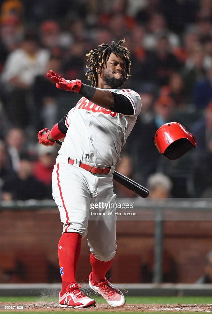 Odubel Herrera #37 of the Philadelphia Phillies loses his helmet on a swinging strike against the San Francisco Giants in the top of the six inning at AT&T Park on June 1, 2018 in San Francisco, California.
