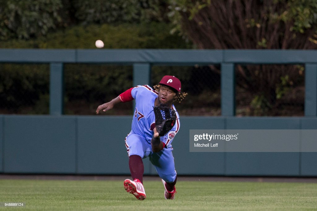 Odubel Herrera #37 of the Philadelphia Phillies makes a running catch in the top of the seventh inning on a ball hit by Corey Dickerson #12 of the Pittsburgh Pirates at Citizens Bank Park on April 19, 2018 in Philadelphia, Pennsylvania. The Phillies defeated the Pirates 7-0.
