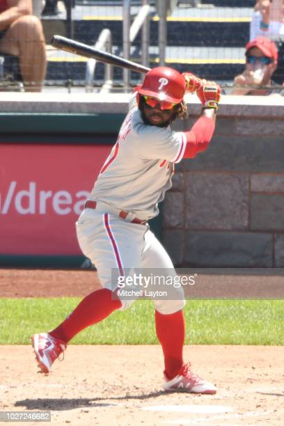 Odubel Herrera of the Philadelphia Phillies prepares for a pitch during a baseball game against the Washington Nationals at Nationals Park on August...
