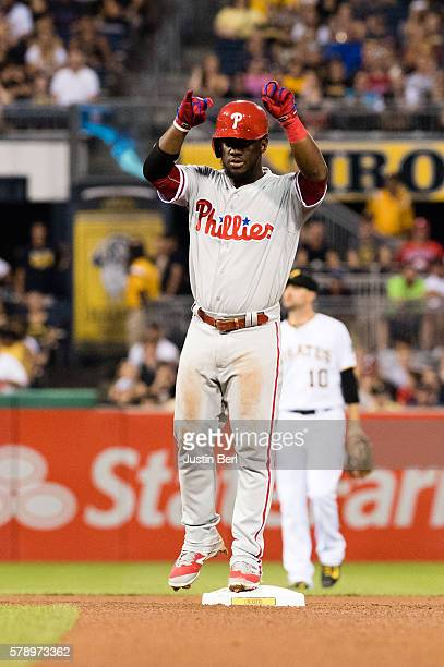 Odubel Herrera of the Philadelphia Phillies reacts after hitting a double to center field in the seventh inning during the game against the...