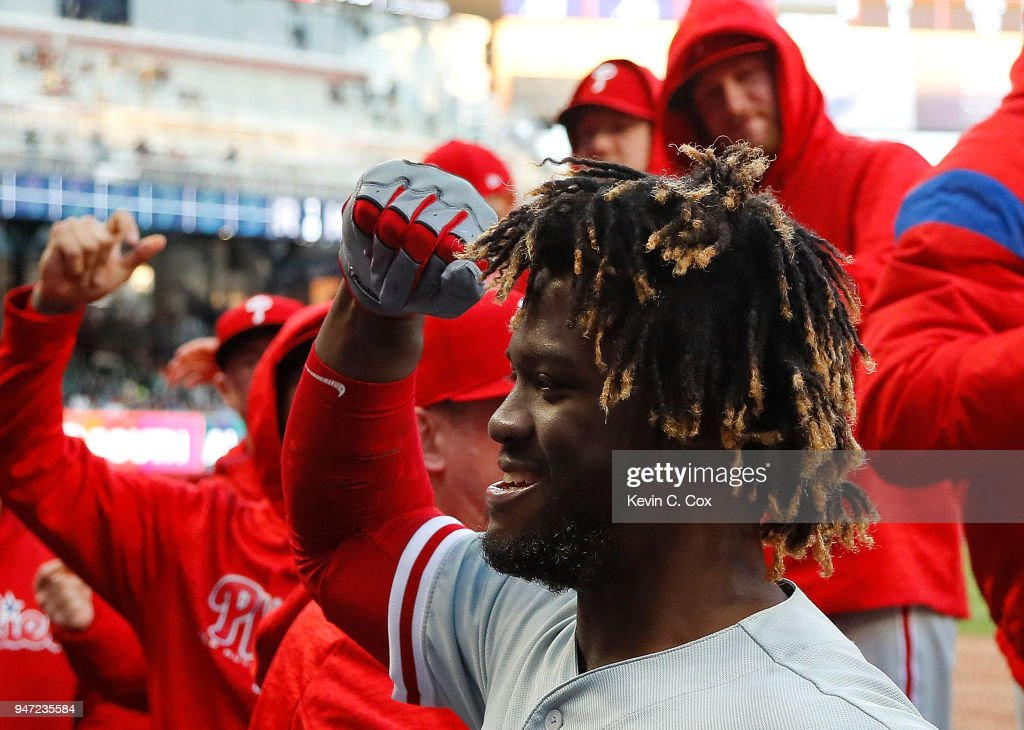 Odubel Herrera #37 of the Philadelphia Phillies reacts after hitting a solo homer in the first inning against the Atlanta Braves at SunTrust Park on April 16, 2018 in Atlanta, Georgia.