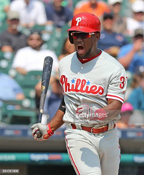 Odubel Herrera of the Philadelphia Phillies reacts after striking out in the seventh inning of the interleague game against the Detroit Tigers on May...