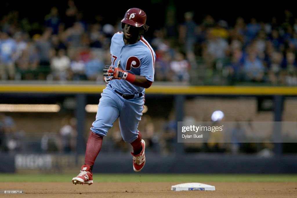 Odubel Herrera #37 of the Philadelphia Phillies rounds the bases after hitting a home run in the seventh inning against the Milwaukee Brewers at Miller Park on July 15, 2017 in Milwaukee, Wisconsin.