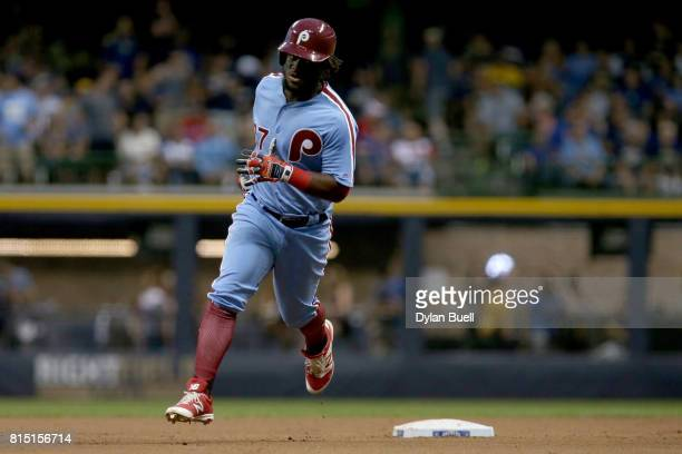 Odubel Herrera of the Philadelphia Phillies rounds the bases after hitting a home run in the seventh inning against the Milwaukee Brewers at Miller...