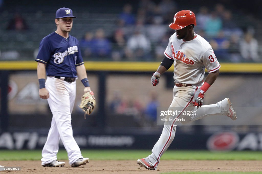 Odubel Herrera #37 of the Philadelphia Phillies runs the bases after hitting a solo home run in the ninth inning against the Milwaukee Brewers at Miller Park on April 23, 2016 in Milwaukee, Wisconsin.