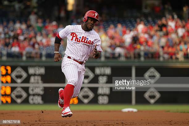 Odubel Herrera of the Philadelphia Phillies runs the bases during a game against the St Louis Cardinals at Citizens Bank Park on August 19 2016 in...