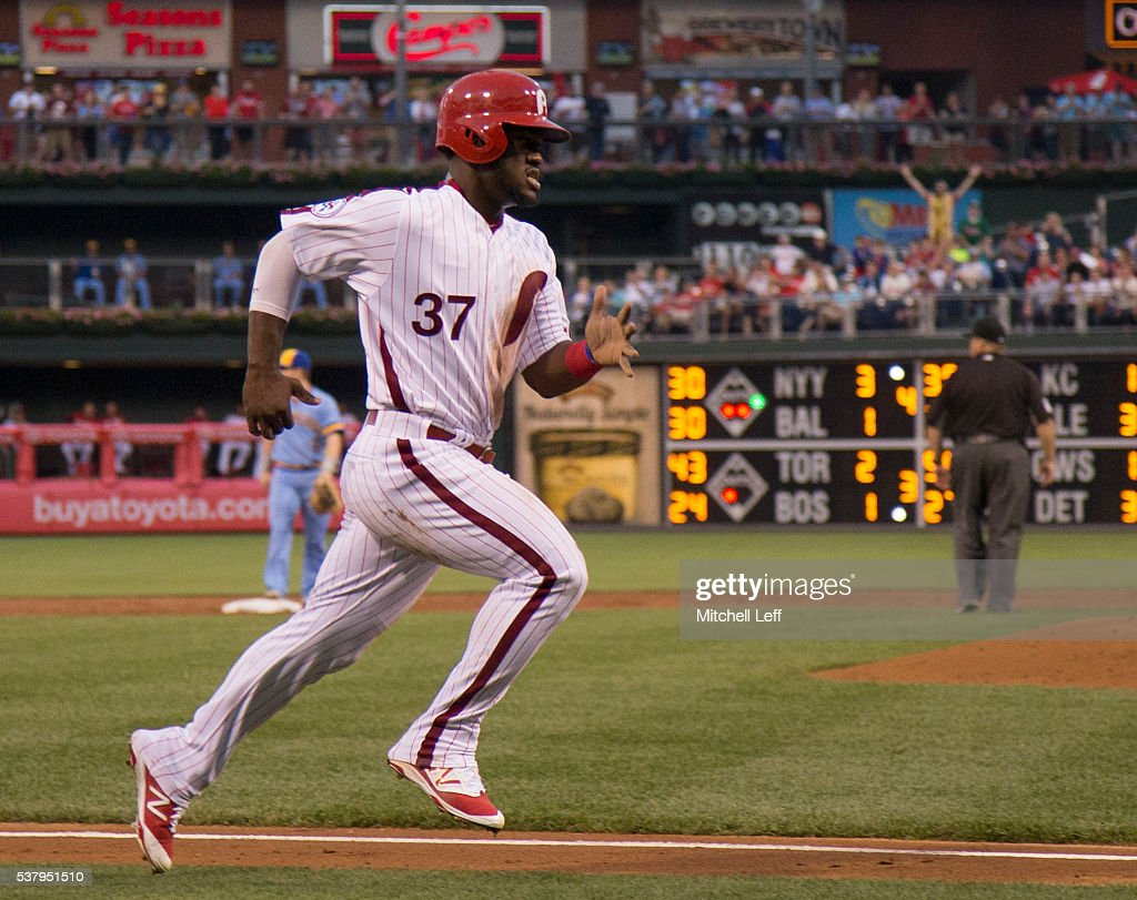Odubel Herrera #37 of the Philadelphia Phillies scores a run in the bottom of the third inning against the Milwaukee Brewers at Citizens Bank Park on June 3, 2016 in Philadelphia, Pennsylvania.