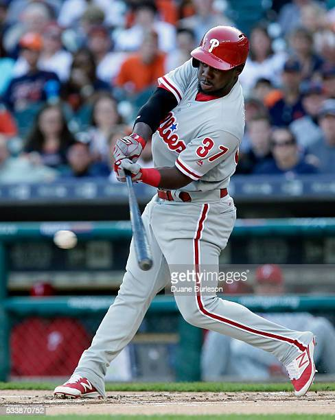 Odubel Herrera of the Philadelphia Phillies singles against the Detroit Tigers during the first inning at Comerica Park on May 23 2016 in Detroit...