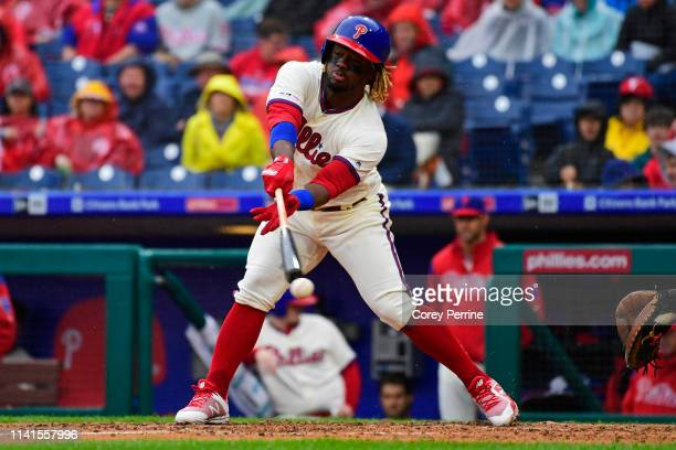 Odubel Herrera of the Philadelphia Phillies strikes out during the fifth inning at Citizens Bank Park on May 5 2019 in Philadelphia Pennsylvania The...