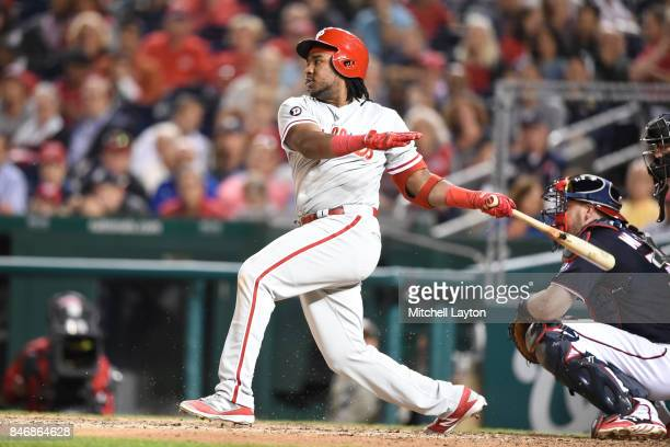 Odubel Herrera of the Philadelphia Phillies takes a swing during a baseball game against the Washington Nationals at Nationals Park on September 8...