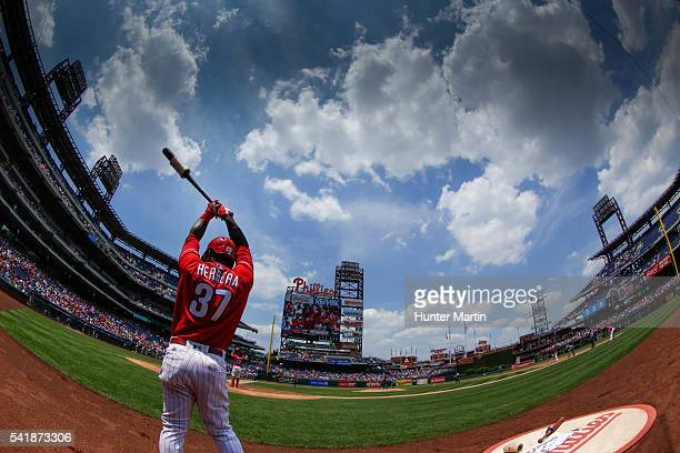 Odubel Herrera of the Philadelphia Phillies warmsup in the on deck circle in the first inning during a game against the Arizona Diamondbacks at...