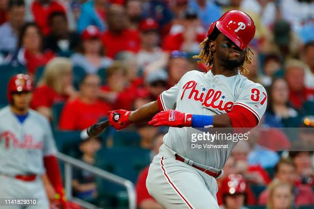 Odubel Herrera of the the Philadelphia Phillies strikes out against the St Louis Cardinals to end the third inning at Busch Stadium on May 6 2019 in...