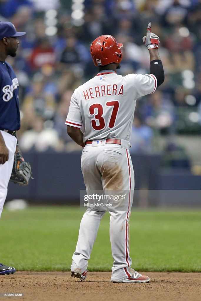 Odubel Herrrera #37 of the Philadelphia Phillies celebrates after hitting a single in the fourth inning against the Milwaukee Brewers at Miller Park on April 23, 2016 in Milwaukee, Wisconsin.