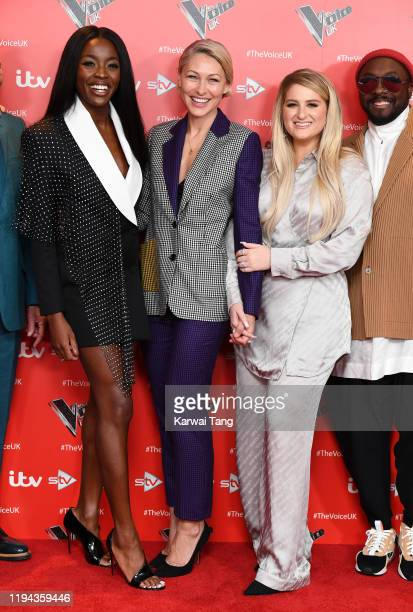 AJ Odudu Emma Willis and Meghan Trainor attend the new series launch of The Voice UK 2019 at The Soho Hotel on December 16 2019 in London England
