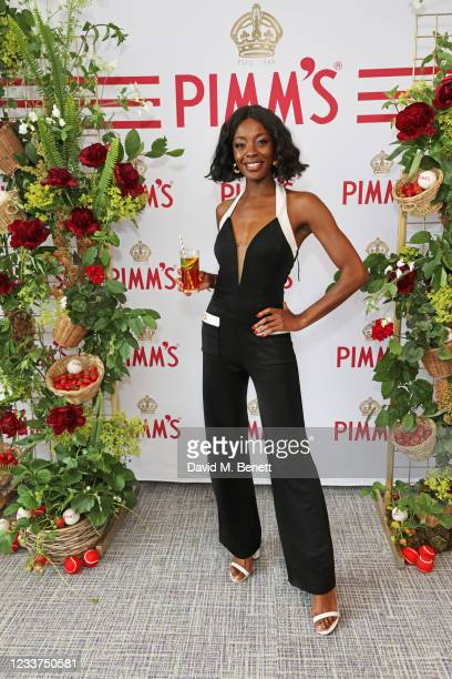 Odudu enjoys PIMM'S No 1 hospitality at The Championships, Wimbledon on July 1, 2021 in London, England.