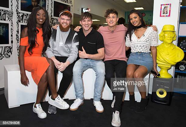 AJ Odudu Jack Garratt Will Best Jimmy Hill and Maya Jama pose on set at The Box Network Channel Relaunch 24 year history at Box Plus Network on May...