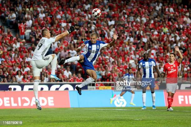 Odysseas Vlachodimos of SL Benfica and Pepe of FC Porto are seen in action during the League NOS 2019/20 football match between SL Benfica and FC...