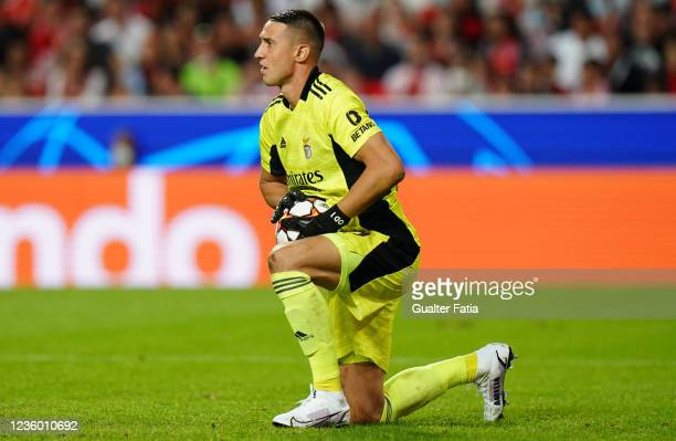 Odysseas Vlachodimos of SL Benfica in action during the Group E - UEFA Champions League match between SL Benfica and Bayern Munchen at Estadio da Luz...