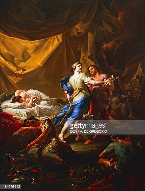 Odysseus and Diomedes in Rhesus's tent by Corrado Giaquinto oil on canvas Bari Pinacoteca Provinciale