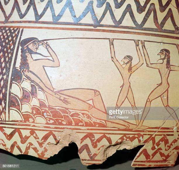 Odysseus and his companions put out the eye of Polyphemus from a Greek vase found in Argos now at Argos Museum 7th century BC