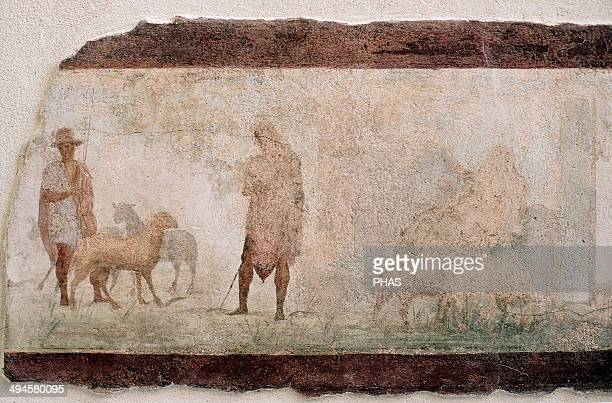 Odysseus disguised as a beggar returns home Episode of the Odyssey Roman Fresco National Roman Museum Rome Italy