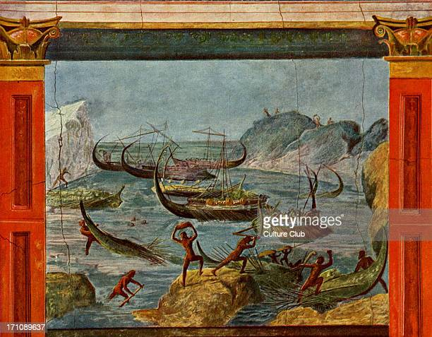 Odysseus' ships are destroyed by giant cannibals the Laestrigonians Scene from Homer 's Odyssey Roman fresco circa 1st century BCE