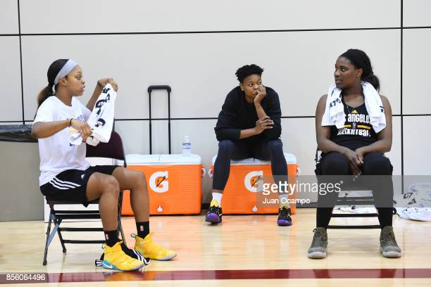 Odyssey Sims Alana Beard and Jantel Lavender of the Los Angeles Sparks during media availability and practice at the Galen Center during the WNBA...
