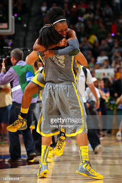 Odyssey Sims and Mariah Chandler of the Baylor Bears celebrate after they won 8061 against the Notre Dame Fighting Irish during the National Final...