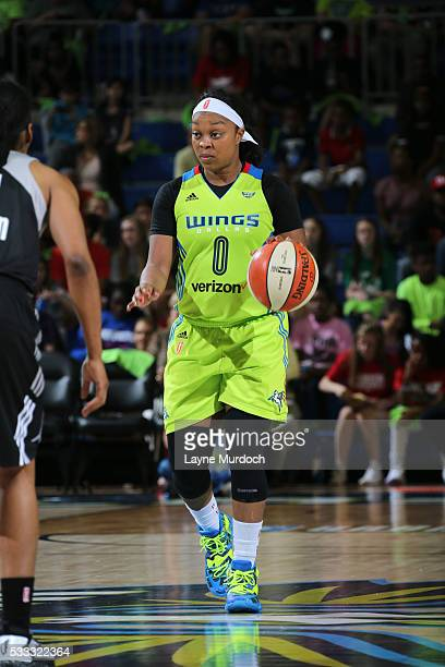 Odyssey Sims of the Dallas Wings brings the ball up court against the San Antonio Stars on May 21 2016 at College Park Center in Arlington Texas NOTE...