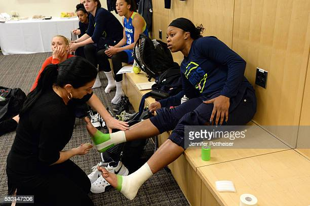 Odyssey Sims of the Dallas Wings gets taped before the game against the New York Liberty at Madison Square Garden on May 15 2016 in New York New York...