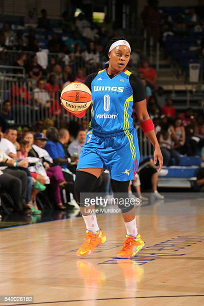 Odyssey Sims of the Dallas Wings handles the ball against the Phoenix Mercury on June 21 2016 at College Park Center in Arlington Texas NOTE TO USER...
