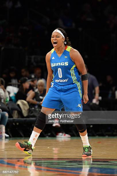 Odyssey Sims of the Dallas Wings shows emotion during the game against the New York Liberty at Madison Square Garden on May 15 2016 in New York New...