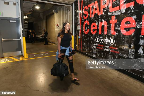 Odyssey Sims of the Los Angeles Sparks arrives for Game Three of the 2017 WNBA Finals on September 29 2017 in Los Angeles California NOTE TO USER...