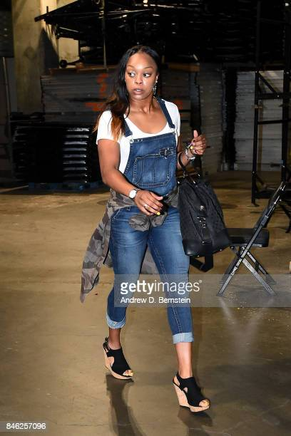 Odyssey Sims of the Los Angeles Sparks arrives to the arena before the game against the Phoenix Mercury in Game One of the Semifinals during the 2017...
