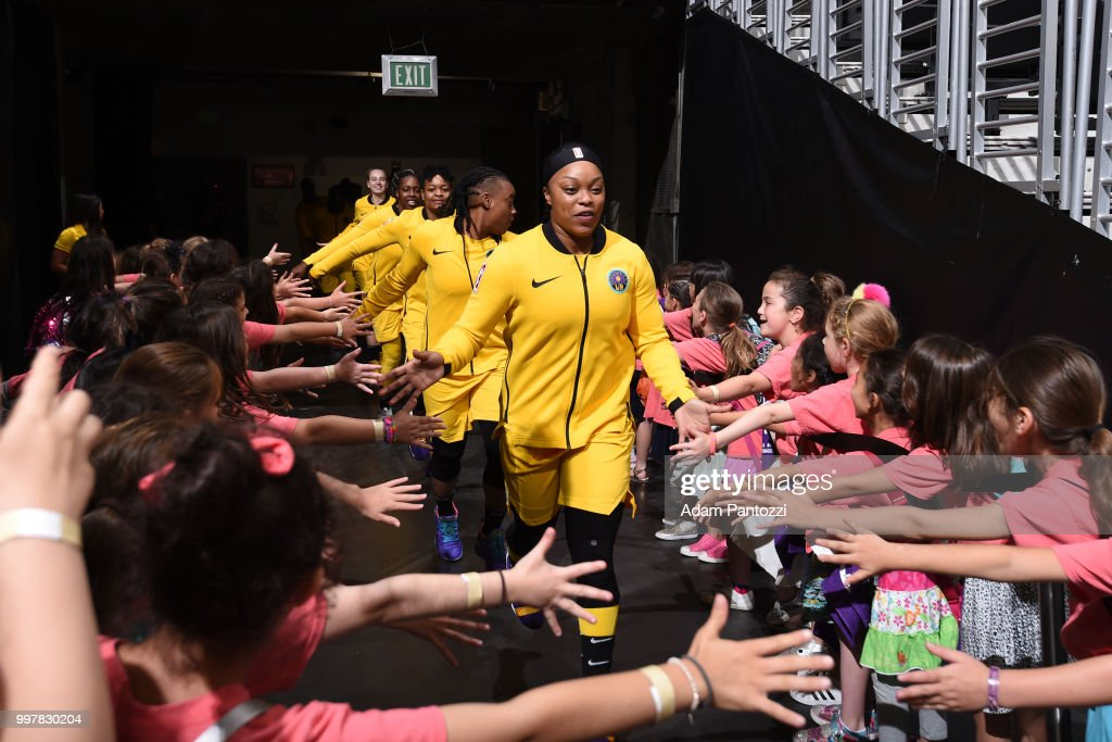 Odyssey Sims #1 of the Los Angeles Sparks before the game against the Dallas Wings on July 12, 2018 at STAPLES Center in Los Angeles, California.