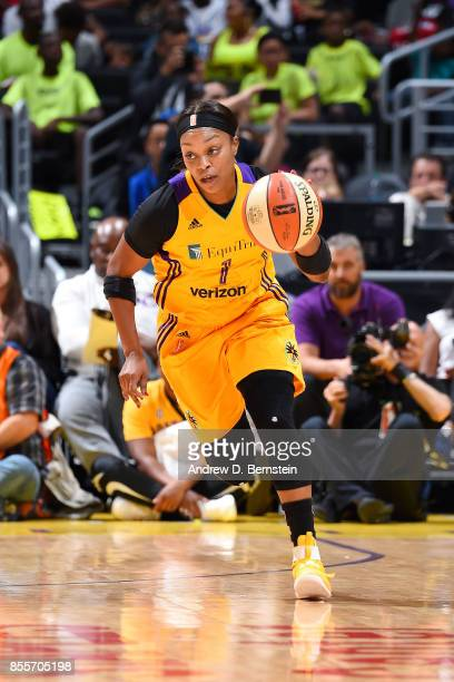 Odyssey Sims of the Los Angeles Sparks brings the ball up court during the game against the Minnesota Lynx in Game Three of the 2017 WNBA Finals on...