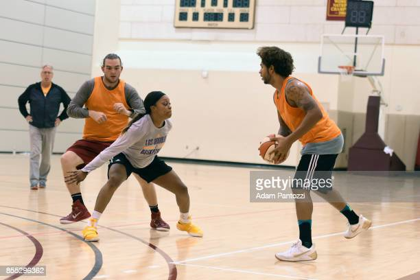 Odyssey Sims of the Los Angeles Sparks defends the ball during practice at the Galen Center during the WNBA Finals in Los Angeles California on...