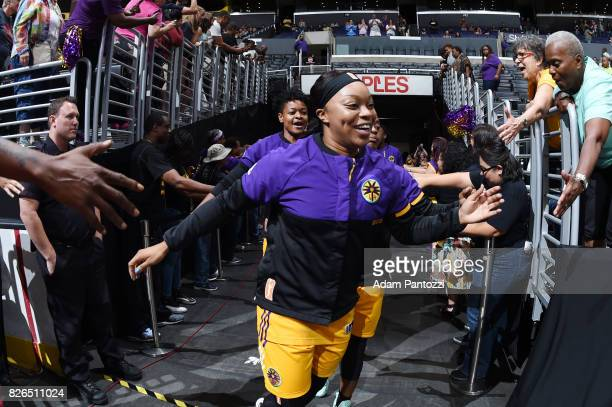 Odyssey Sims of the Los Angeles Sparks gets introduced before the game against the New York Liberty on August 4 2017 at the STAPLES Center in Los...