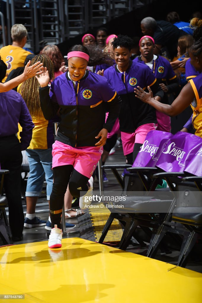 Odyssey Sims #1 of the Los Angeles Sparks gets introduced before the game against the San Antonio Stars on August 22, 2017 at the STAPLES Center in Los Angeles, California.
