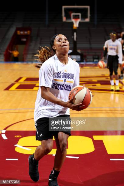 Odyssey Sims of the Los Angeles Sparks goes to the basket during the 2017 WNBA Finals Practice and Media Availability on September 23 2017 at...