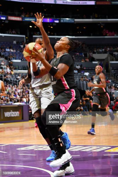 Odyssey Sims of the Los Angeles Sparks handles the ball against the Minnesota Lynx on August 2 2018 at STAPLES Center in Los Angeles California NOTE...