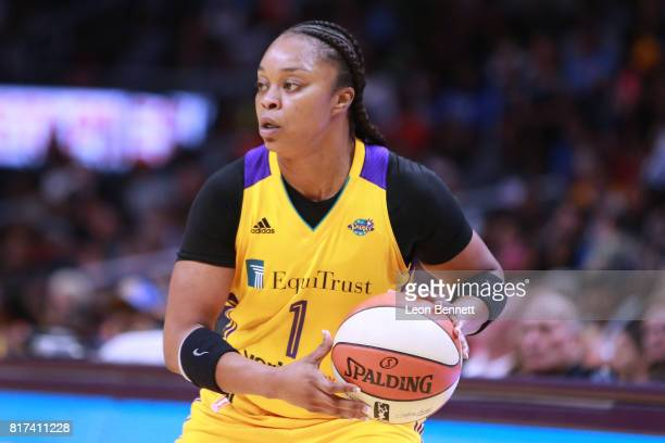 Odyssey Sims of the Los Angeles Sparks handles the ball against the Indiana Fever during a WNBA basketball game at Staples Center on July 17 2017 in...