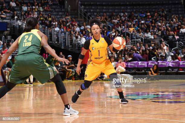 Odyssey Sims of the Los Angeles Sparks handles the ball against the Seattle Storm on July 25 2017 at STAPLES Center in Los Angeles California NOTE TO...