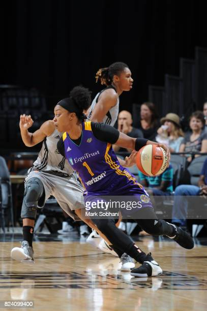 Odyssey Sims of the Los Angeles Sparks handles the ball against the San Antonio Stars on July 28 2017 at the ATT Center in San Antonio Texas NOTE TO...