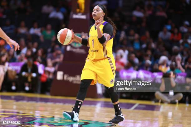 Odyssey Sims of the Los Angeles Sparks handles the ball against the New York Liberty during a WNBA basketball game at Staples Center on August 4 2017...