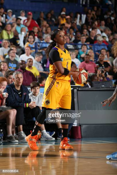 Odyssey Sims of the Los Angeles Sparks handles the ball against the Chicago Sky on August 18 2017 at Allstate Arena in Rosemont IL NOTE TO USER User...