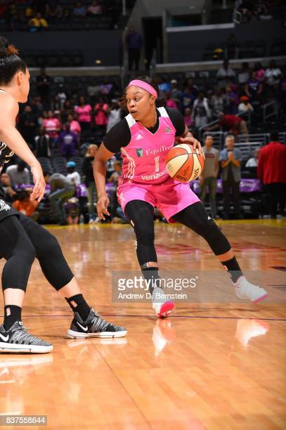 Odyssey Sims of the Los Angeles Sparks handles the ball against the San Antonio Stars on August 22 2017 at the STAPLES Center in Los Angeles...